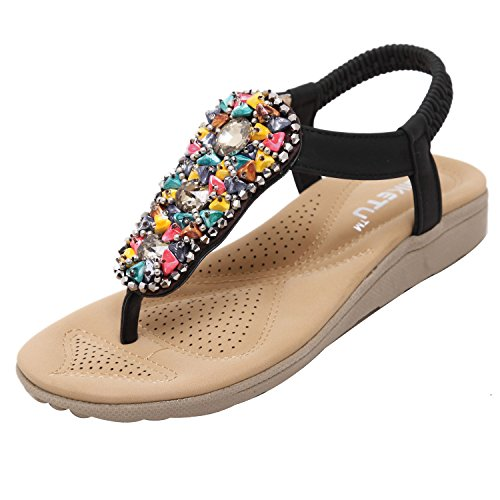 ZAMME Women's Bohemia Flat Shoes Ladies Summer Sandals Black zrwlvgdeUU