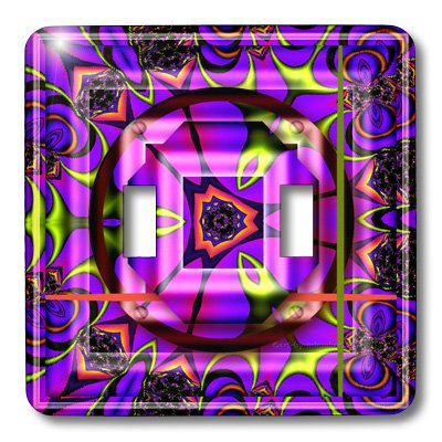 Harmony Switchplate - 3dRose lsp_26773_2 Mandala Zen Innerbalance Harmony Blue Green Pink Peace Energy Glowing Chakra Meditation Newage Double Toggle Switch
