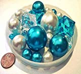 95 No Hole Blue Turquoise and White Pearls with Gems Accents - Jumbo & Assorted Sizes Vase Fillers- To Float Pearls Order the Transparent Water Gels