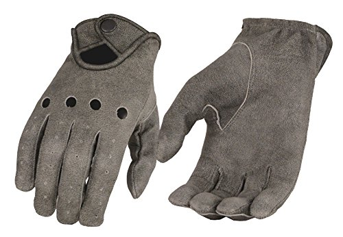 Milwaukee Leather Men's Leather Driving Gloves with Wrist Snap-Distressed Gry-Large Grey