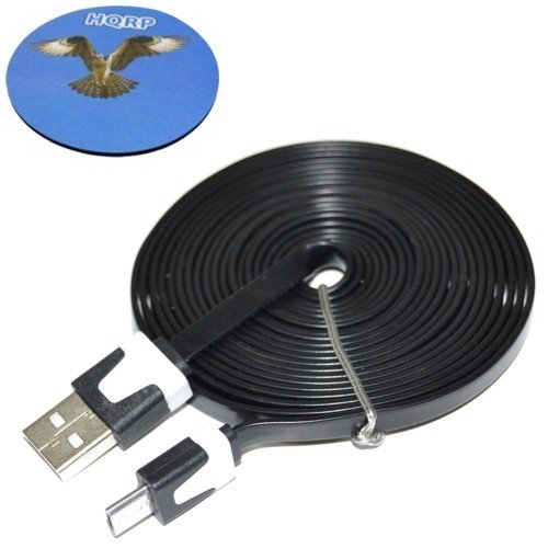HQRP Extra Long 10ft USB to micro USB Cable / USB Charging Cable for Nvidia Shield / Nvidia Project Shield handheld game console ; Goji Play tracker + Coaster