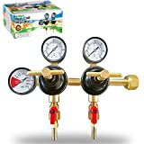 Co2 Beer Regulator Two Product Dual Pressure Kegerator Heavy Duty Features T-Style Adjusting Handle - 0 to 60 PSI-0 to 2000 Tank Pressure CGA-320 Inlet w/ 3/8'' O.D. Safety Discharge 50-55 PSI