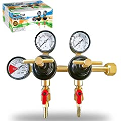 Beer Draft Regulator Supreme!  Introducing Pro Co2 Beer regulator. The heavy duty double gauge and professional grade tool that will always tell you working pressure and tank pressure with pinpoint accuracy!  Feature T - Style Adjusting handl...