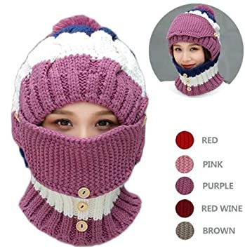1727496eb28 Amazon.com  NEEDOON 3 in 1 Winter Scarf Hats Mask Set for Women ...