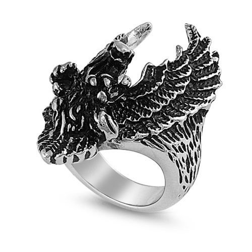 JewelryVolt Stainless Steel Ring Biker Wings Patriot Eagle Polished & Oxidized Casting (Eagle Head 14) ()