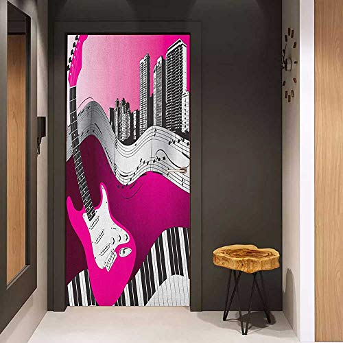 Onefzc Sticker for Door Decoration Music Bass Guitar Keyboard Urban Rock Backdrop Rhythm of City Illustration Door Mural Free Sticker W31 x H79 Hot Pink Pale Grey Black