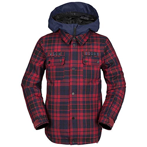 Volcom Boys' Big Neolithic Insulated 2 Layer Shell Snow Jacket, red, Medium