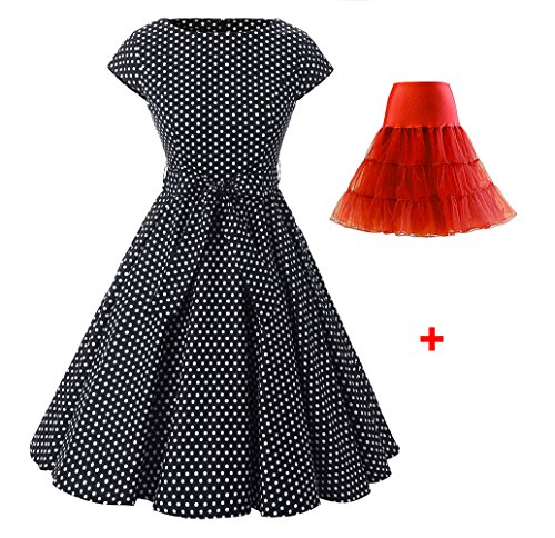 Sleeve Rockabilly Womens Cap Petticoat Swing Black White Vintage 1950s Evening Small With Cocktail Ensnovo Dress Red Dot 1HUEqxwRH