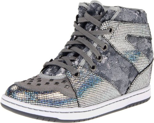 BOBS from Skechers Women's Moolah Fashion Sneaker,Silver/Silver,7 M US