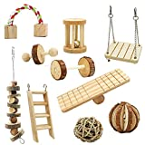 SODIAL Hamster Chew Toys, 10 Pack Natural Wooden Pine Guinea Pigs Rats Chinchillas Toys Accessories Dumbells Exercise Bell Roller Teeth Care Molar Toy for Birds Bunny Rabbits Gerbils