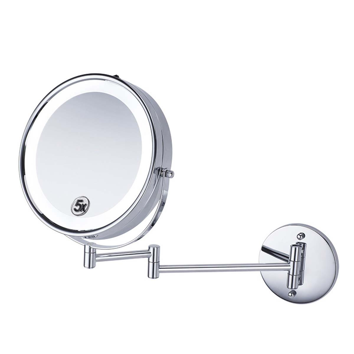 J&A 8.5 inch led illuminated bathroom mirror Folding beauty mounted telescopic bathroom mirror Magnifier, 5x magnification wall mounted shaving mirror