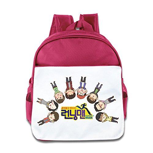Hello-Robott Running Man Cartoon School Bag Backpack Pink