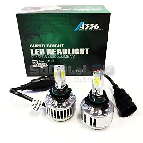 SOCAL-LED H10 (9145) 72W 3Light Automotive LED Bulbs Headlight Conversion Kit 6000K Xenon White Halogen/HID - 9145 Bulb