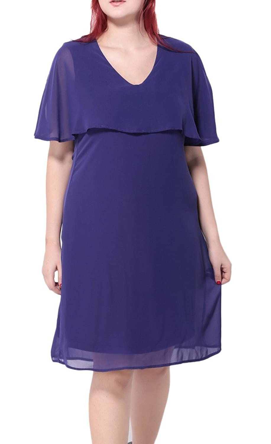 Bigood Plus Size V Kragen Kurz Armel Damen Minikleid Cocktailkleid Party Kleid Violett