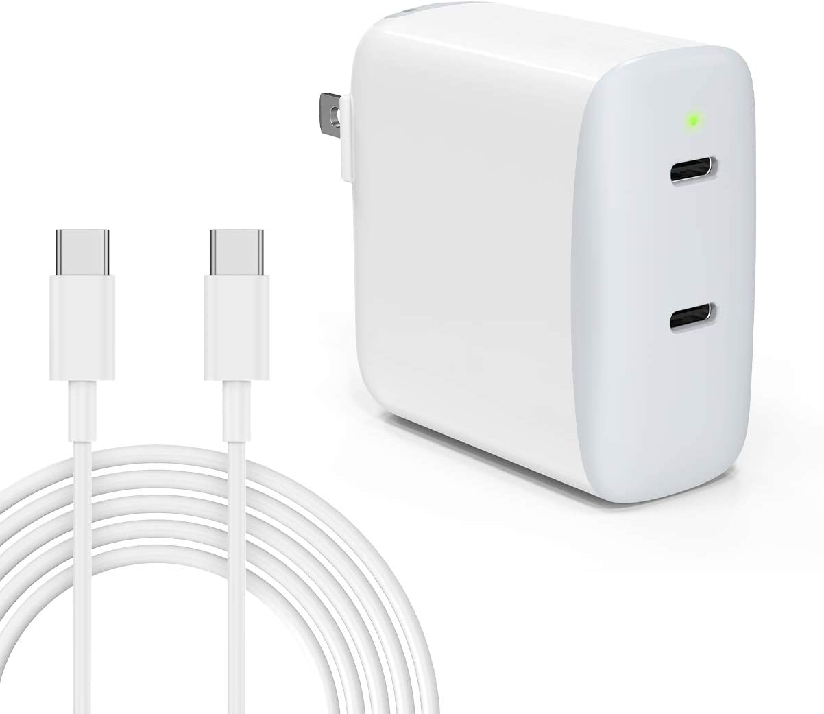 iPhone Charger, 40W USB C Charger, 2-Port Fast Charging Block, PD 3.0 20W Fast Charger for iPhone 12 Pro Max Mini, iPad Pro M1 12.9 11 Air 4, Galaxy S21 S20, Pixel 5 4 3 2 with 6.6ft/2m Type C Cable
