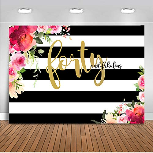 Mehofoto Forty and Fabulous Backdrop Flower Stripes 40th Birthday Photography Background 7x5ft Vinyl Women 40th Birthday Party Banner Backdrops -