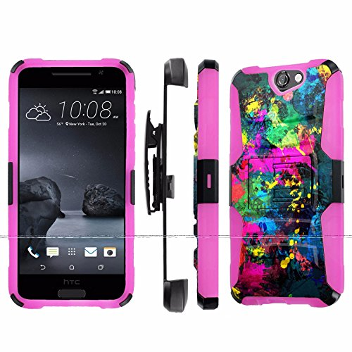 , [NakedShield] [Black/ Hot Pink] Heavy Duty Holster Armor Tough Case - [Street Paint] for Htc One A9 Aero ()