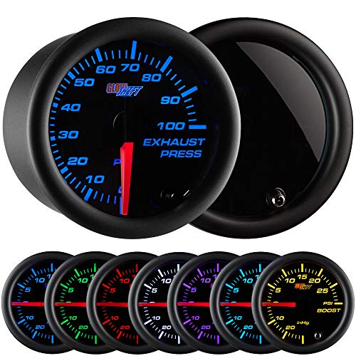 - GlowShift Tinted 7 Color 100 PSI Exhaust Drive Pressure Gauge Kit - Includes Copper Hose & Fittings - Black Dial - Smoked Lens - for Diesel Trucks - 2-1/16