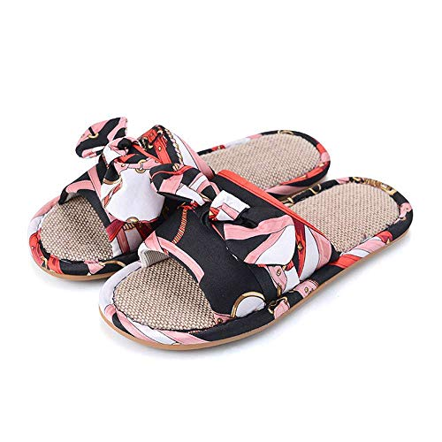 3 Indoor Bow Slippers Women House Toe Open Casual Flax Black Linen Ourdoor Slides HngqZwSx4B