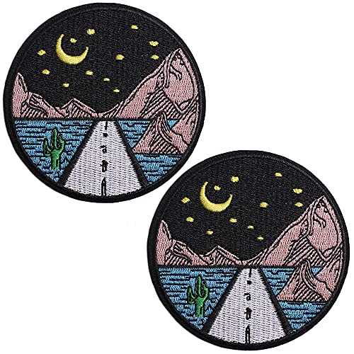 TACVEL Night Scene Under The Starry Sky Embroidered Patches Iron on / Sew on Emblem Patches Applique for Jackets, Jeans, Backpacks, Caps