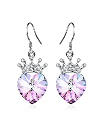 Angelady Purple Pink Princess Queen Crown Drop Earrings Jewelry with S925 Sterling Silver Hook,Crystal from Swarovski Girl Birthday Wedding Party Gift
