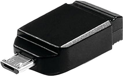 Verbatim 16GB Nano USB Flash Drive with USB OTG Micro Adapter Black 49821