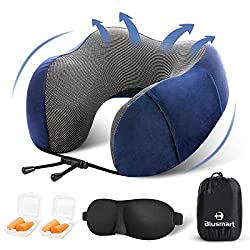 Blusmart Travel Pillow, Memory Foam Neck Pillow, 360° Head & Neck Support Airplane Pillow - Comfortable & Washable Cover, Travel Kit with Eye Mask, Earplugs & Storage Bag