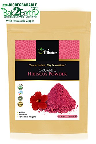 mi nature USDA CERTIFIED ORGANIC Hibiscus Powder(SABDARIFFA)/100% Pure, Natural and Organic For Hair,Skin and Health/(227g/(1/2 lb)/8 ounces) - in biodegradable resealable ziplock pouch