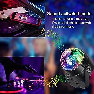 51NV9XfKCwL. SS300  - Spriak-Discokugel-Discolicht-Partylicht-Disco-Licht-Lichteffekte-7-Farbe-Musikgesteuert-LED-DJ-Licht-Partybeleuchtung-Party-Lampe-fr-Halloween-Weihnachten-Kinder-Disco-DJ-Party-Geburtstag-Dekoration