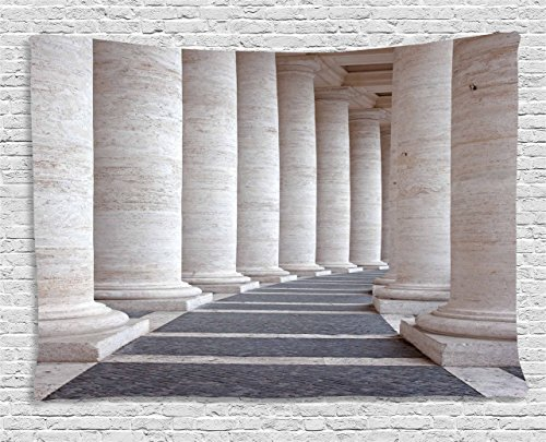 Ambesonne Pillar Tapestry, Ancient Theme Roman Columns Stone Pillars Old Architecture Theme Digital Image, Wall Hanging for Bedroom Living Room Dorm, 80 W X 60 L Inches, Dust Grey