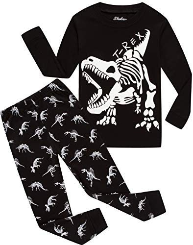 shelry Children Pajamas Boys Glow in Dark Dinosaur Pj Cotton Sleepwear Set Toddler Kids Clothes -