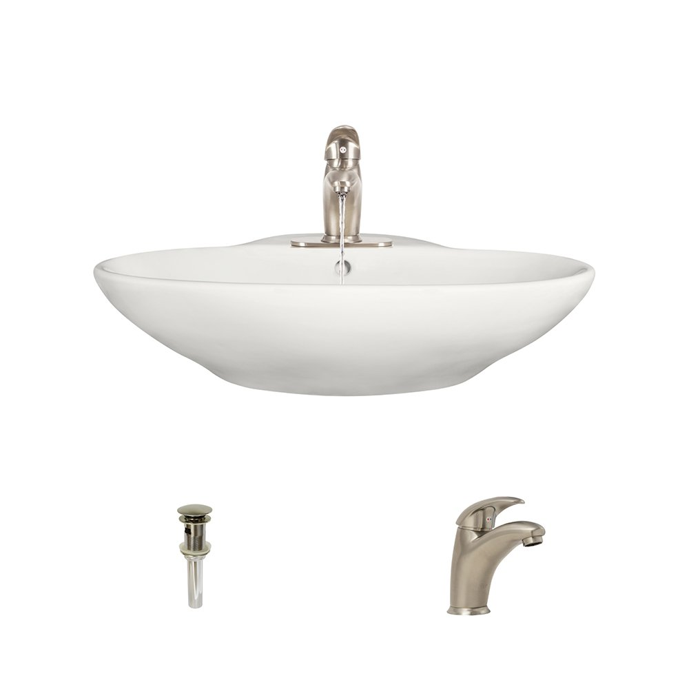 MR Direct V2602-Bisque Porcelain Vessel Sink Chrome Ensemble with 732 Vessel Faucet Bundle - 3 Items: Sink, Faucet, and Pop Up Drain