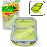 Collapsible Lunch Box- Silicone Kids Food Storage with Two Compartments and Utensil by D'Eco