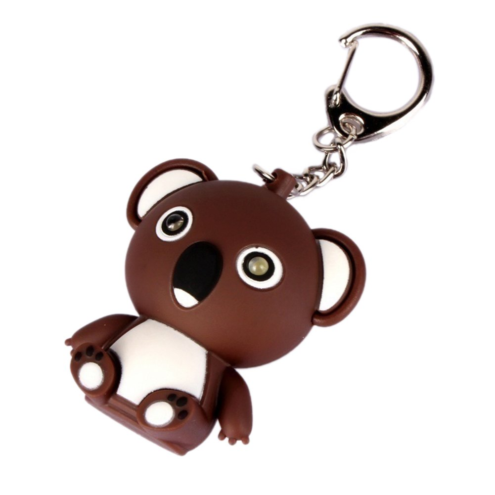 Bangle009 Clearance Sale Cartoon Koala LED Sound Keyring Car Key Chain Handbag Hanging Decor Gift Toy