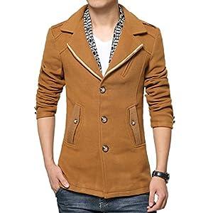 ICEGREY Men's Wool Blend Pea Coat Slim Fit Winter Coat Tan XL