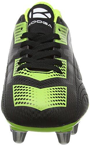 Kooga Blitz 2, Zapatillas de Rugby Hombre Negro (Negro/Lime)