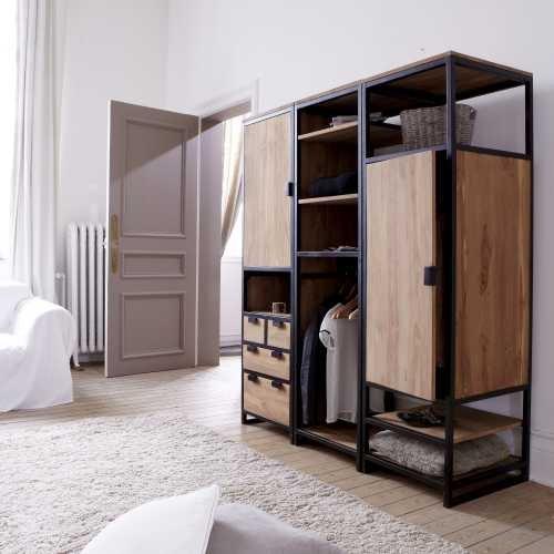 Solid Teak And Metal Wardrobe Unit 3 Shelf 1 Cupboard Industrial Style  Bedroom: Amazon.co.uk: Kitchen U0026 Home