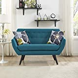 Modern Contemporary Urban Design Living Lounge Room Loveseat Sofa, Blue, Fabric