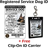 Activedogs Registered Service Dog ID Card + Clip-On ID Carrier + A Digital ID Copy