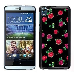 Caucho caso de Shell duro de la cubierta de accesorios de protección BY RAYDREAMMM - HTC Desire D826 - Rosas Negro Verde Rosa minimalista