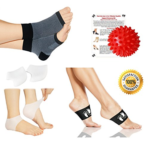 New Plantar Fasciitis Pain Relief Recovery 4-in-1 bundle, Compresson Sleeves, Copper Arch Compression Braces, Silicone Heel Protectors, Massage Ball, - Increases circulation, Heal Spurs, Night Splints by FOOT SOLE JOUR