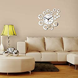 Ghaif Diy creative round wall clock 3D, Removable For bedroom living room kitchen TV background wall bathroom dormitory office