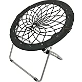 CAMPZIO Bungee Chair Round Bungee Chair Folding Comfortable Lightweight Portable Indoor Outdoor (Black)
