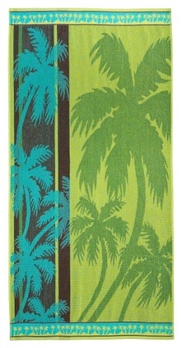Palm Tree Forest Blue Lime by Cotton Craft - Terry Jacquard Beach Towel size 32x63 - 500 grams 100% Pure Ringspun Cotton - Brilliant intense vibrant colors - Highly absorbent easy care machine wash - Use for picnic poolside or as a colorful bath towel - Other styles available - Butterfly, Surf Board Palm, Zebra, Shells & Fish, Wheel Anchor, Henna and Lily Bamboo