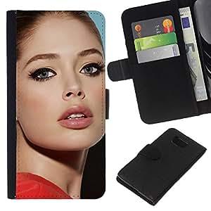 LECELL--Cuero de la tarjeta la carpeta del tirón Smartphone Slots Protección Holder For Samsung ALPHA G850 -- sexy actriz --