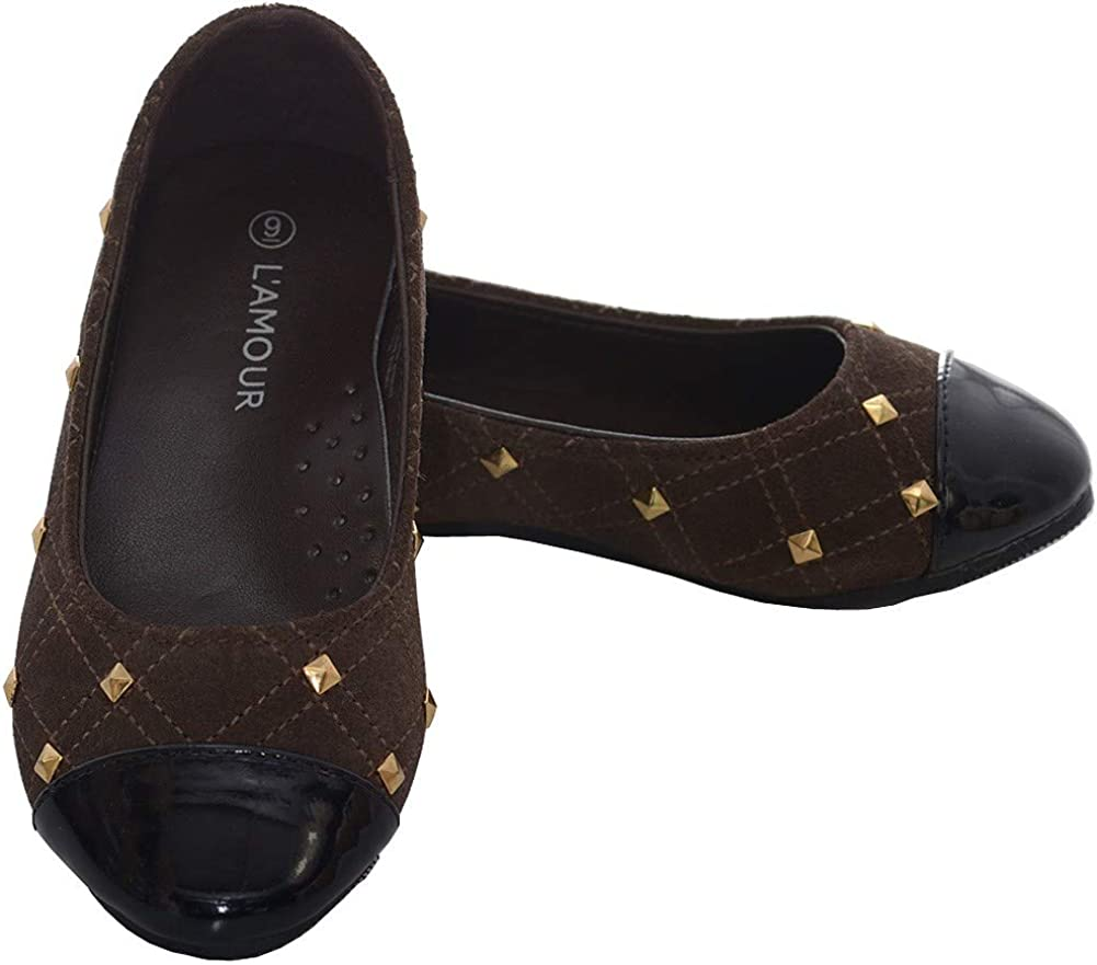 LAmour Brown Suede Patent Gold Stud Ballet Shoe Toddler Girls 7-10