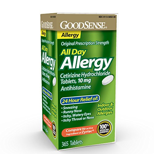 GoodSense All Day Allergy, Cetirizine HCl Tablets 10 mg, Antihistamine for Allergy Relief, 365 Count (Best Over The Counter Dog Allergy Medicine)