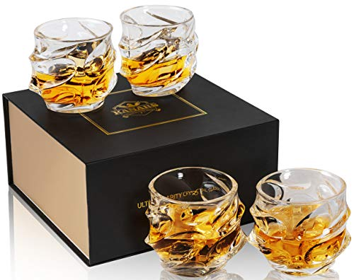 TOP RATED OVERSIZED ROCK STYLE SET OF 3 CRYSTAL WHISKEY GLASSES!