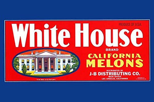 Crate label for melons from California sold under the brand name White House The label shows the Presidents residence Poster Print by unknown (18 x 24)