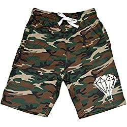 Men's Dripping Diamond V293 Camo Fleece Jogger Sweatpant Gym Shorts Large Black